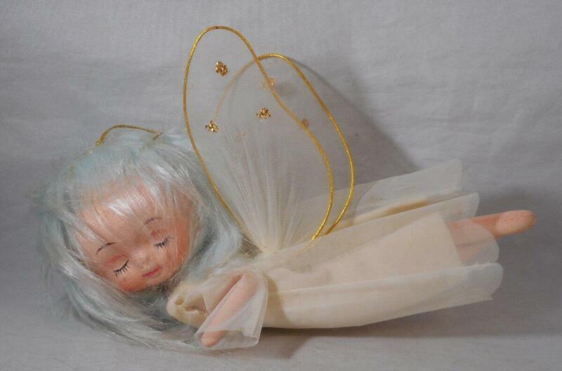 Vintage Sleeping Angel Christmas Ornament Blue Hair
