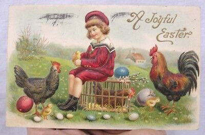 Vintage Easter Postcard Embossed Boy Hen Rooster Cage Eggs 1912 Germany