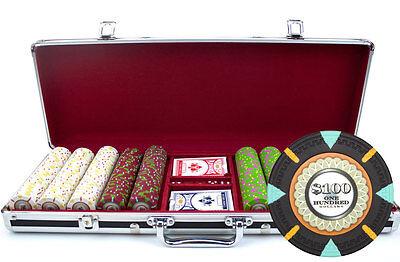 New 500 The Mint 13.5g Clay Poker Chips Set Black Aluminum Case - Pick -