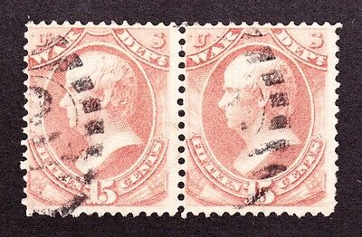 US O90 15c War Department Used Pair w/ Fancy Cancels (002)