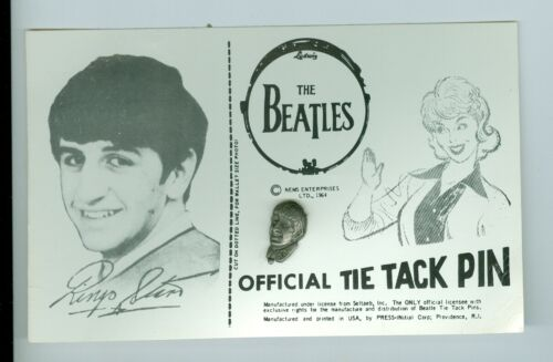 Ringo Starr The Beatles 1964 Official Tie Tack Pin on Card Nems Seltaeb Inc