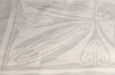 Leinendamast Tafeltuch 153 x 276 cm - Signiert Peter Behrens um 1901