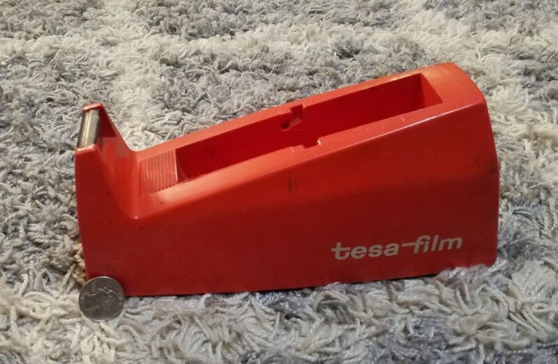 "Vintage Heavy Duty Tape Dispenser Orange Tesa-Film #057 German 9"" Long"