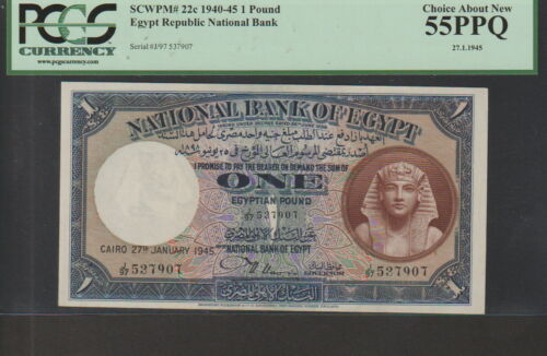 Egypt 1 Pound Banknote,27-1-1945,Choice About New Grade-PCGS Cat#22-C