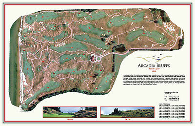 "ARCADIA BLUFFS   - Vintage Golf Course Maps print (30"" x 19"")"