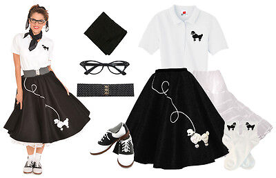 50 S Outfits (Hip Hop 50s Shop Womens 8 pc Black Poodle Skirt Outfit Halloween Costume)