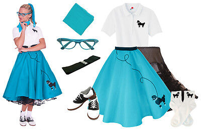 50 S Outfits (Hip Hop 50s Shop Womens 8 pc Teal Poodle Skirt Outfit Halloween Dance Costume)