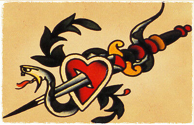 (Snake Heart Dagger vintage Sailor Jerry Traditional Tattoo Flash Poster )