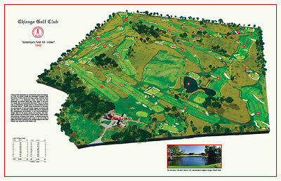 "CHICAGO GOLF CLUB  - Vintage Golf Course Maps print (30"" x 19"")"