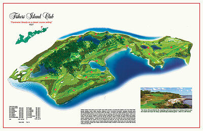 "Fishers Island   - Vintage Golf Course Maps print (30"" x 19"")"