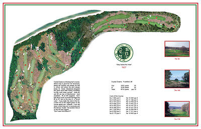 "CRYSTAL DOWNS  - Vintage Golf Course Maps print (30"" x 19"")"