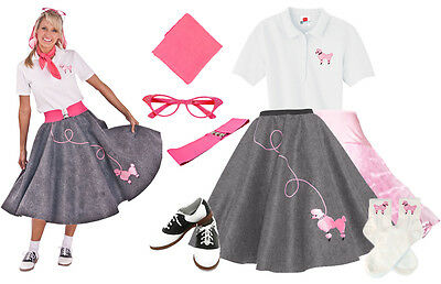 50 S Outfits (Hip Hop 50s Shop Womens 8pc Gray Poodle Skirt Outfit Halloween Dance Costume Set)