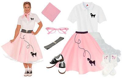 Halloween Shop (Hip Hop 50s Shop Womens 8 pc Light Pink Poodle Skirt Halloween Costume Set)