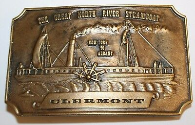 For sale Vintage 1974 The Great North River Steamboat Clermont NY Belt Buckle RARE MINT