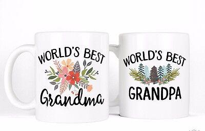 Worlds Best Grandma Grandpa Coffee Mug Set Anniversary Gift for Grandparents
