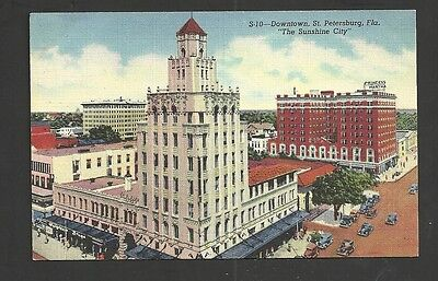 Downtown St. Petersburg Florida Linen Vintage Postcard Unused