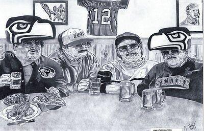 Seattle Seahawks Da Hawks Super Fans Sketch Art Drawing Picture