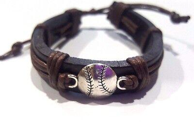 Baseball / Softball Brown leather & chord Bracelet  w ball charm - - Baseball Bracelets