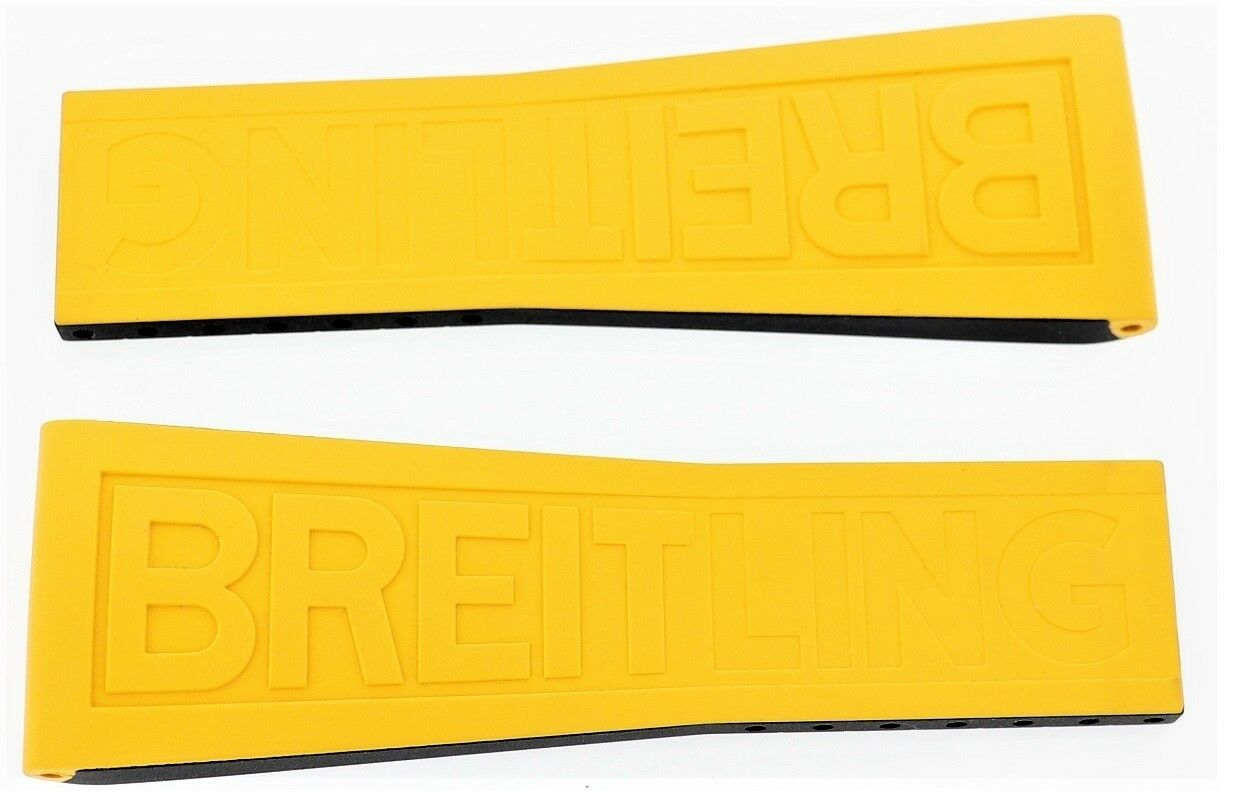 Breitling Rubber Uhrenarmband Gelb 246S Twin Pro 26mm-20mm