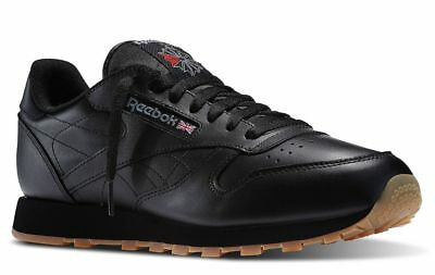 Reebok Classic Leather Black Gum Sole Fashion Mens Shoes Sneakers 49798 Sizes (Classic Leather Sneakers)