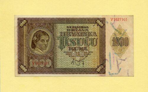 CROATIA KINGDOM, WWII 1000 KUNA 1941 P-4a GOVERNMENT NOTES XF+++