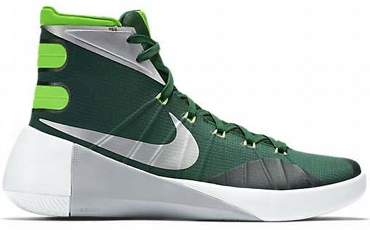 New Mens Nike Hyperdunk 2015 Sz 13.5 Green Lime Silver White Sneakers Shoes