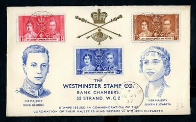 St Christopher and Nevis - 1937 KGVI Coronation Illustrated First Day Cover