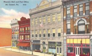 MT CARMEL, PA Pennsylvania   MASONIC HALL & POST OFFICE   c1940's Linen Postcard