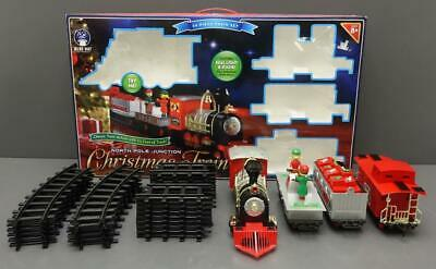 North Pole Junction 34-Piece CHRISTMAS TRAIN Set Blue Hat Toy Co. 20' Track 2016