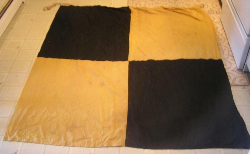 "WWII SQUARE YELLOW & BLACK ALPHA ""L"" LIMA NAUTICAL SIGNAL FLAG-SEMAPHORE-NICE"