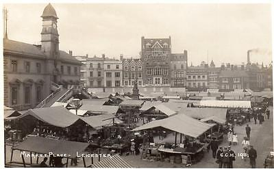 Market Place Leicester unused RP old pc  E C Houghton