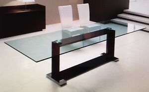 Glass Dining Table with Wood Base from Milano Furniture Darling Point Eastern Suburbs Preview