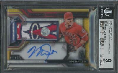 2016 Topps Strata Patch Gold Mike Trout 1/25 Mint BGS/Bas Beckett 9 10 Auto