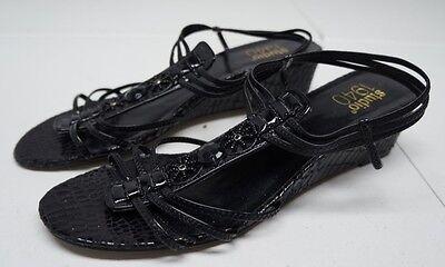 (Studio 1940 Womens 6.5 M Black Gladiator Wedge Heel Sandals)