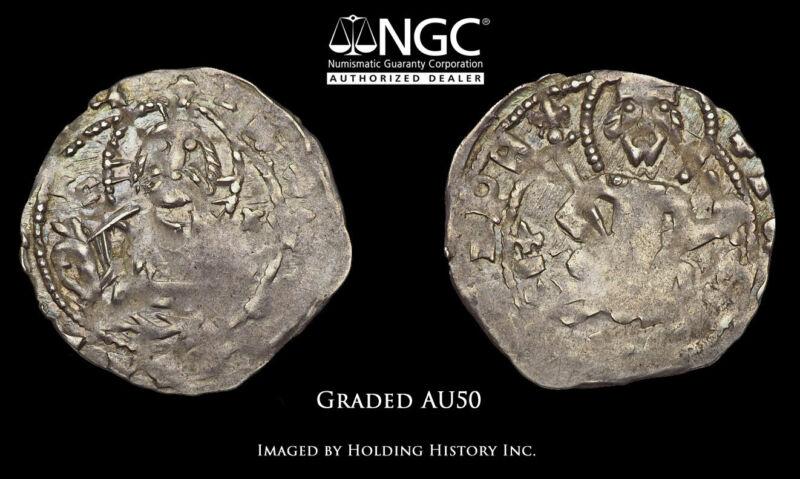 BULGARIA. John Sratsimir. 1356-1396. Silver 1/2 Gros. NGC AU50