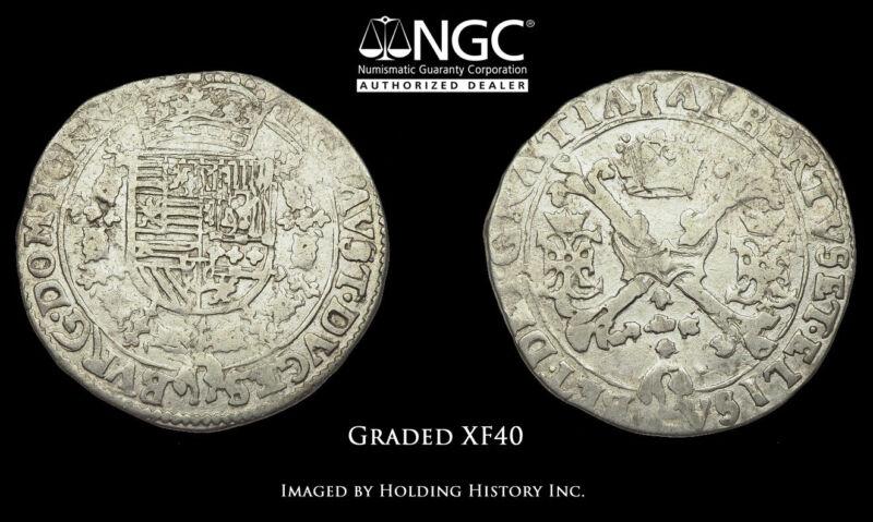 SPANISH NETHERLANDS. Albert & Elizabeth, 1/4 Patagon, 1598-1621, NGC XF40