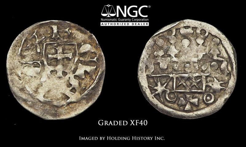 HUNGARY. Bela III. 1172-1196, Silver Denar, NGC XF40
