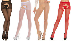 Sheer-Crotchless-Pantyhose-Nylons-Stockings-Hosiery-Black-White-Nude-Red-1726