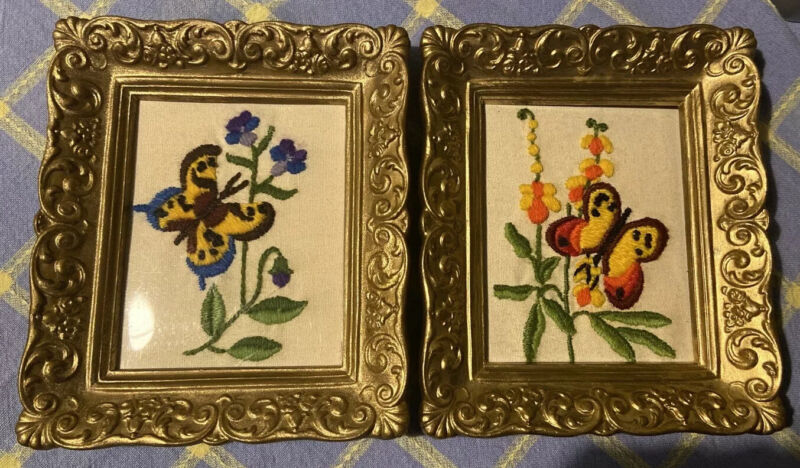 Crewel Embroidery Butterfly Pictures In Gold Frames Vintage Mid Century EUC