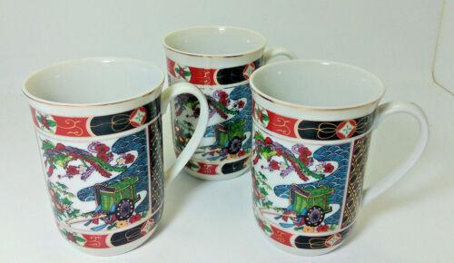 "Imari Heritage Mint Cups Set of 3 Porcelain 4"" tall Japan Cart Floral Gold Trim"