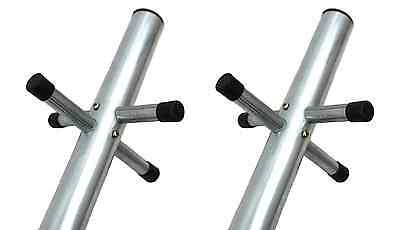 2 Quality Washing Line Pole Clothes Post Dryer Galvanised Heavy Duty 2.4m Socket