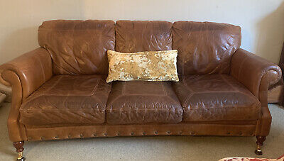 Country Home Tan Leather Sofa, Three Seater, Gorgeous