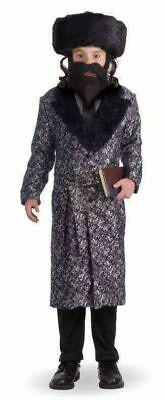 en Costume Coat Child Boys Religious Master Silver Black New (Rabbi Halloween-kostüm)