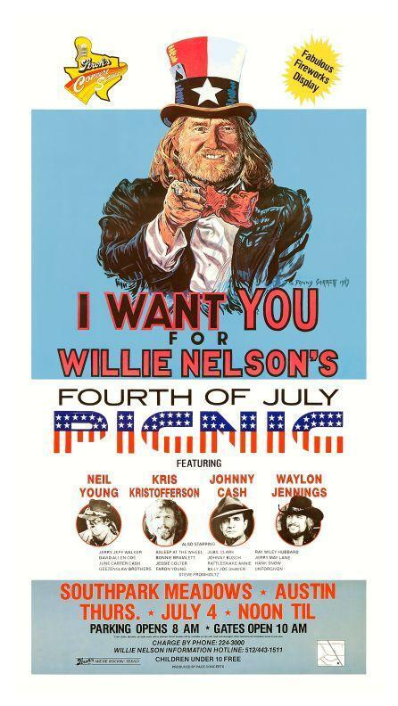 Willie Nelson - POSTER - BBQ Party Neil Young Johnny Cash Waylon Jennings *LOOK*