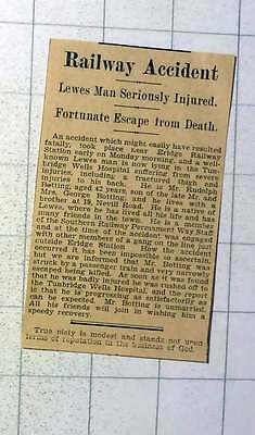 1937 Mr Rudolph Botting 19 Neville Road Lewes Fortunate Escape From Death