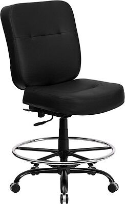 Big Tall 400 Lbs Weight Capacity Black Leather Office Chair Wdrafting Stool
