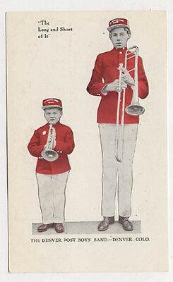 1908 Denver The Denver Post Boys Band Postcard Pc4913