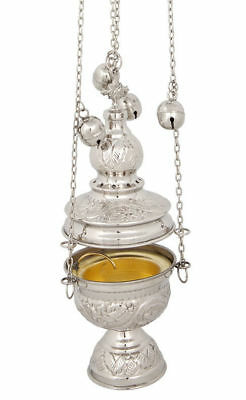 Greek Orthodox Church - Nickel Plated Greek Russian Orthodox Christian Church Liturgical Thurible Censer