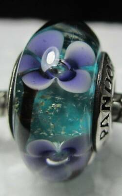 - New Authentic Pandora Silver 925 Ale Purple Plum Flowers Murano Glass Bead Charm