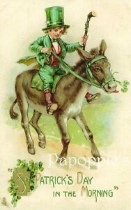 St-Patricks-Day-Fabric-Block-Vintage-Postcard-on-Fabric-Donkey-Shamrock